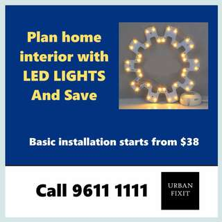 Home interior lighting with LED