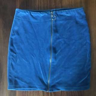 Suede Blue Mini Skirt