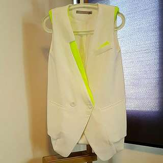 White Sleeveless Jacket With Neon Green Trimmings