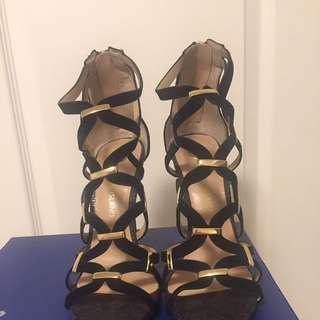 Strappy Black Sandals (Size 7-8)