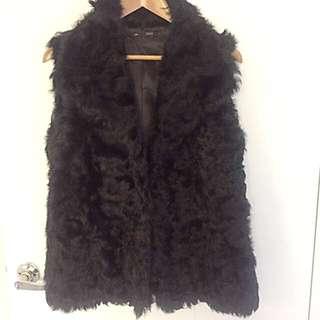 Saba Black Fur Vest Size SM ( 8-10)