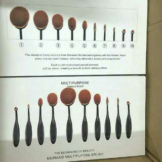 10pcs Oval Toothbrush Brush Makeup Brushes Foundation. Black & Rose Gold