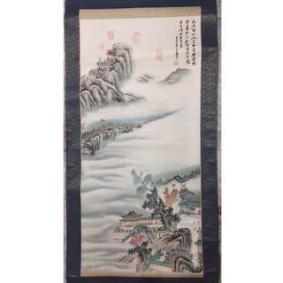 Watercolor landscape painting 山水畫(Chinese, scroll, antique, not Qing, Ming)