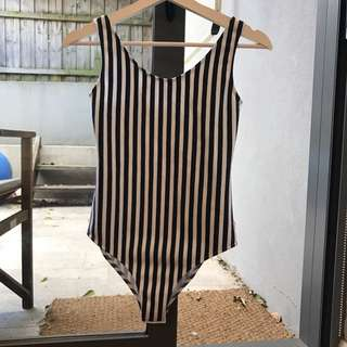 Blue & White Striped Bodysuit