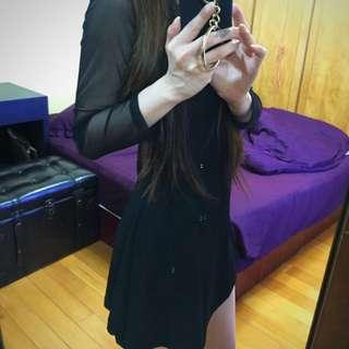 全黑 洋裝 袖子透膚 顯瘦 螺紋重磅