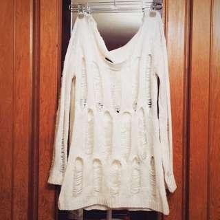 白色 寬鬆針織 毛線衣 破損 長袖