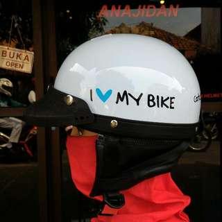 Helm Chips I Love My Bike Putih - Helm Cetok