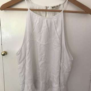 White Frilled Crop Singlet