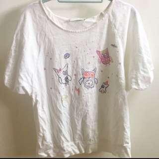 A La Sha 可愛貓頭鷹燈籠袖 短袖上衣