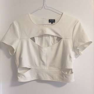 Bardot Cutout Crop Top
