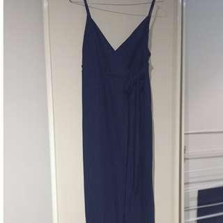Zara Navy Wrap Maxi Dress