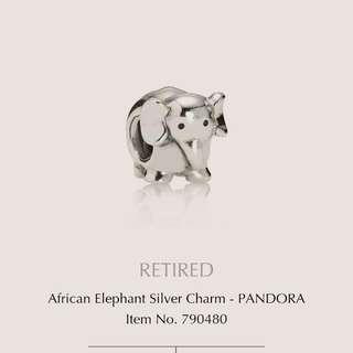 Pandora Charm African Elephant Silver Retired