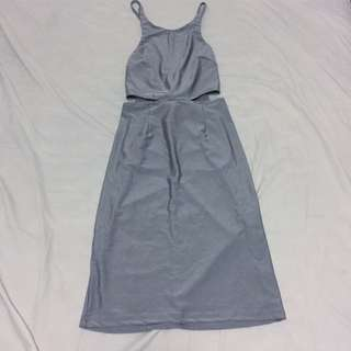 Silver Fitted Dress with Corset Back