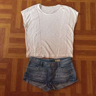 White Knitted Top + Jean Shorts Combo