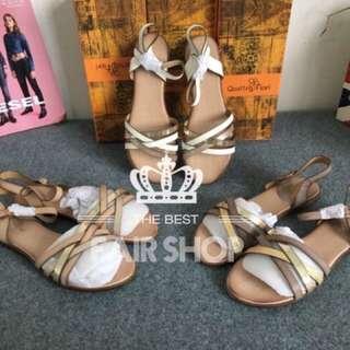 「時尚🔥熱銷款」歐美款拼色編帶平底涼鞋