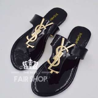 「歐美🔥熱銷款」美美的YSL漆皮平底人字涼鞋