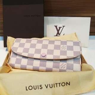 Louis Vuitton Emilie Wallet Authentic in Damier Azur - Rose Ballerine