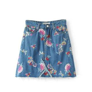 甜美刺繡AA牛仔短裙