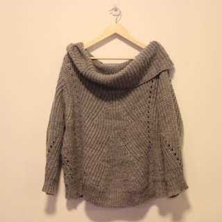 Some Day Lovin' Roll Neck Knit Jumper - Grey Sz M 10 12