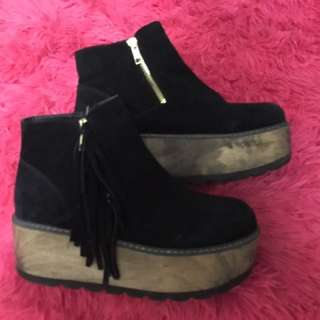 Black Platform Leather & Wood Shoess