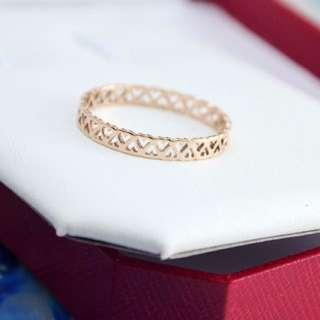 鈦鋼鍍14k玫瑰金 鏤空愛心彩金戒指 指環