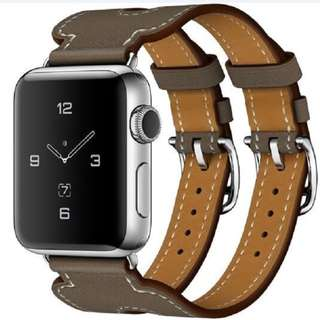 Apple watch leather strap double buckle (iwatch, applewatch)