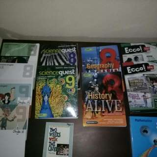 Assorted Textbooks for Year 8 and 9