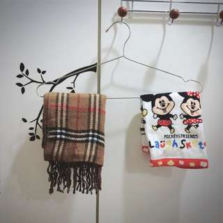 出清💎 兩件一組 迪士尼正版手帕&菱格圍巾