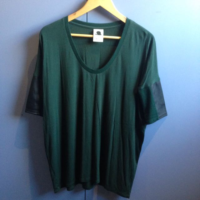 3/4 Sleeve Top - Cotton & Leather