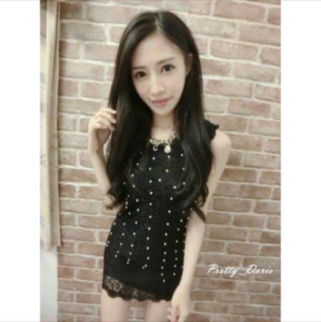 蕾絲珍珠長版背心洋裝(黑)#我的旋轉衣櫃