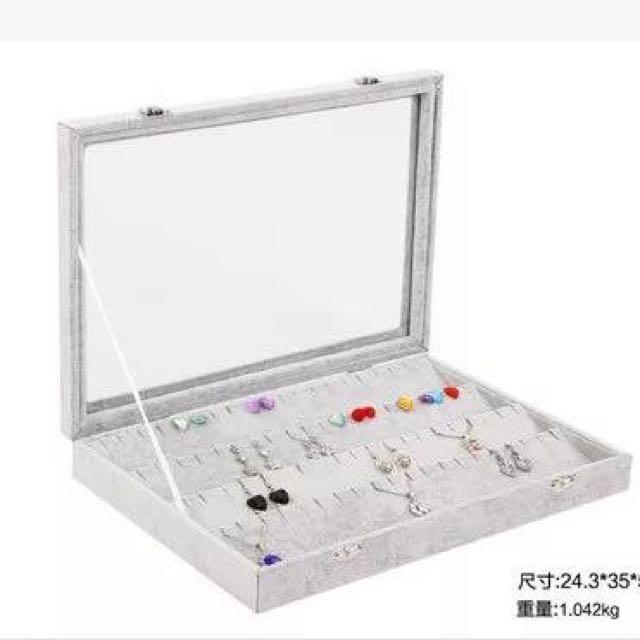 [二手]冰花絨布耳環收納盒