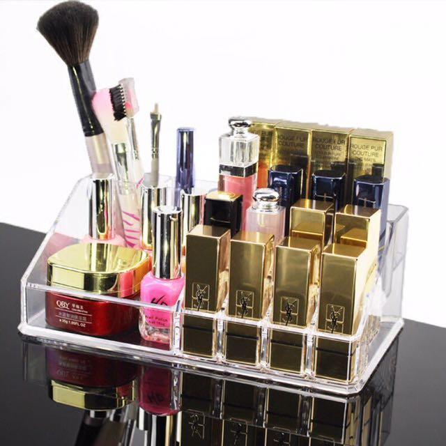 🍓桌面壓克力透明化妝品收納盒 口紅架 彩妝架 眉筆眼線唇膏收納盒 現貨