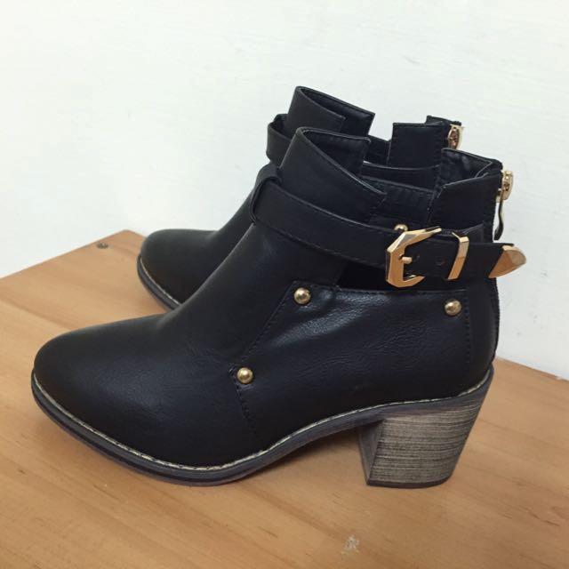 全新✨正韓 黑色 金口踝靴 短靴 35