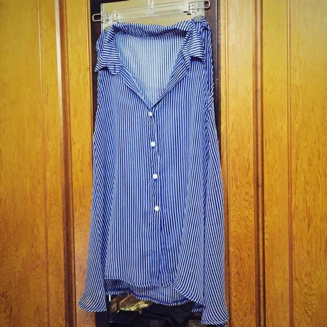 直紋 藍色 長版 無袖 背心 襯衫