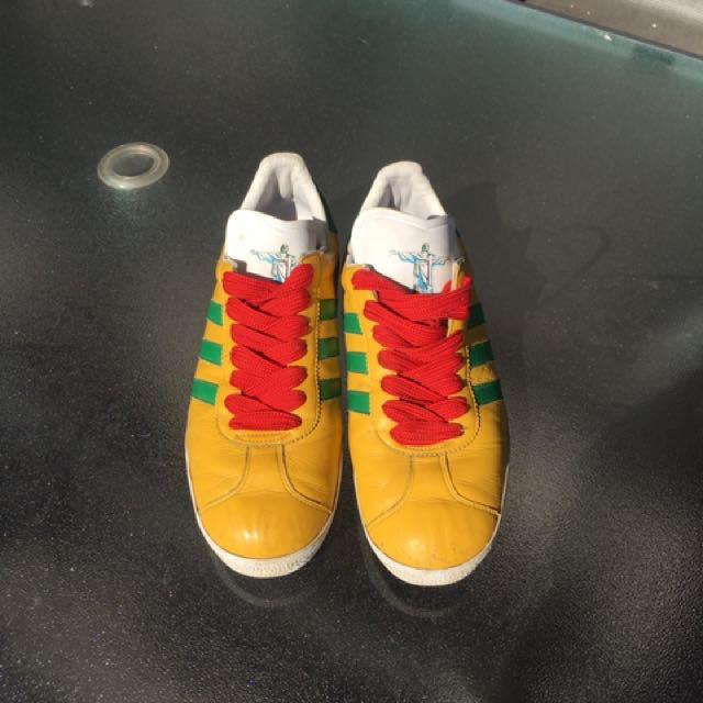 premium selection e1686 ed7c9 Adidas Gazelle 2 Yellow Green Leather Trainer Rio, Mens Fashion, Footwear  on Carousell