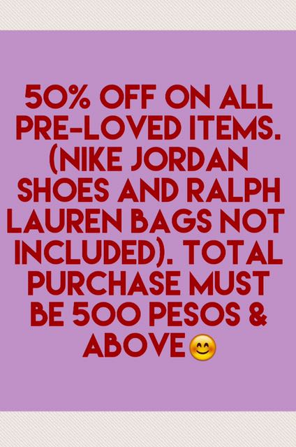 All Pre Loved Items On 50% Off