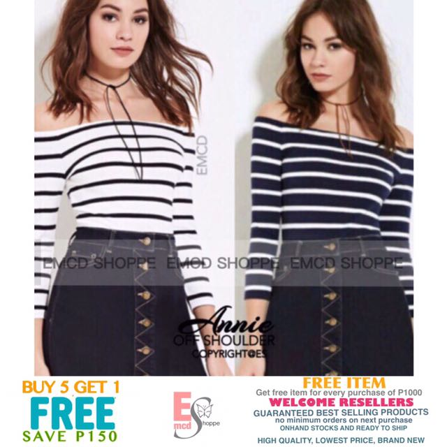 Annie Semi Crop Off Shoulder Stripes