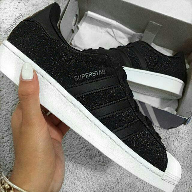 875769d2073 Authentic Adidas Superstar Black Glitter