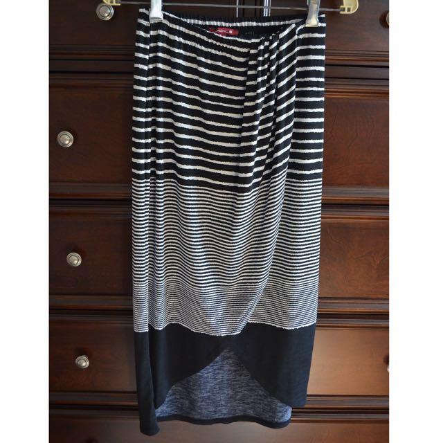 Black & White Mid-Length Skirt