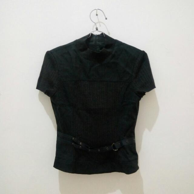 Black Top with Belt by JOIN US