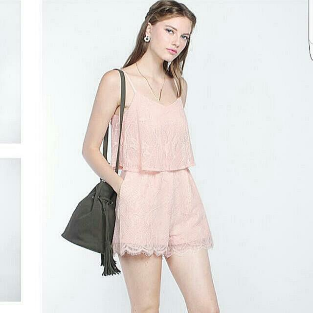 a345eec514f Bnwt Quintelle Lace Playsuit In Blush Size S