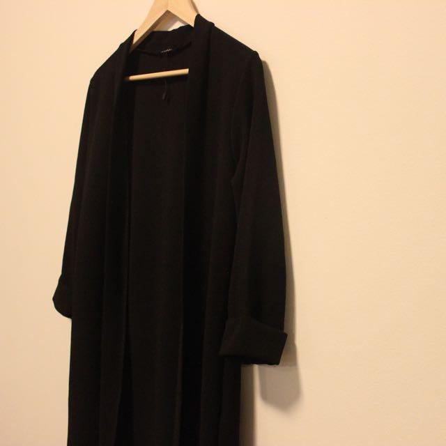 Boohoo Black Duster Coat Size 10 M