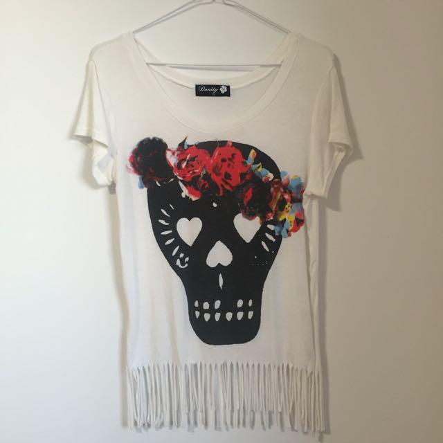 Boohoo Tasselled Skull Print Shirt