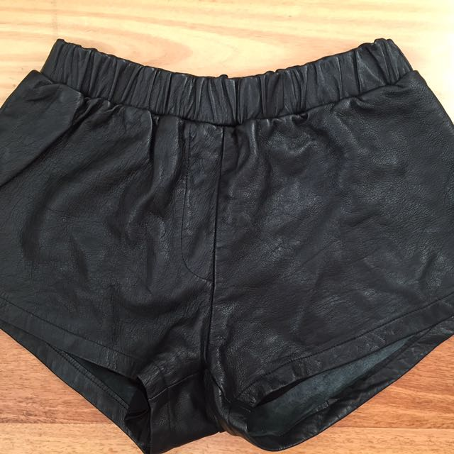 Chosen By Tuchuzy Black Leather Shorts