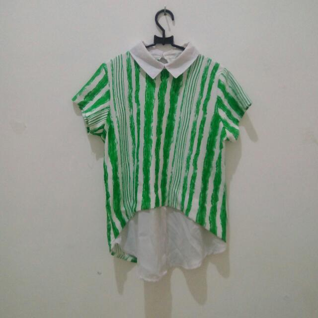 Collar Shirt (Green+White)