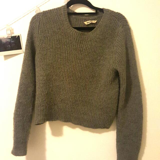 Cropped Grey Cashmere Jumper