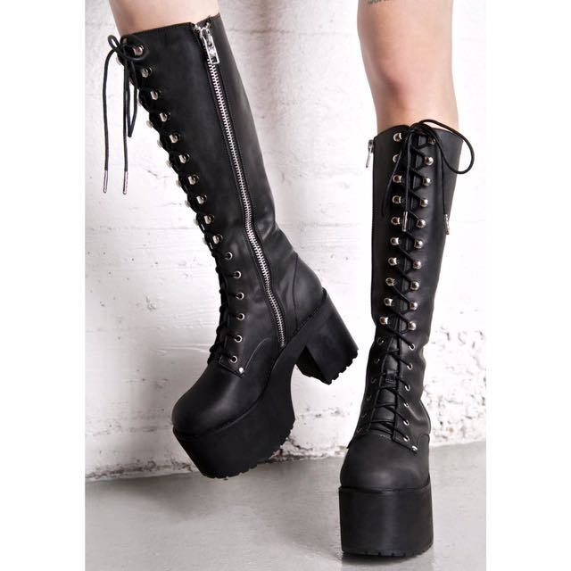 Current Mood Your Highness Leather Boots Gothic