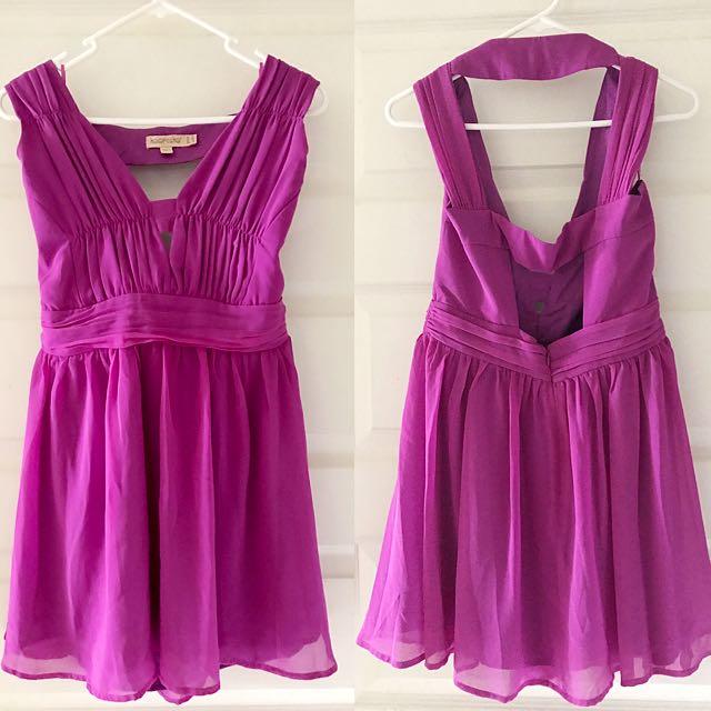 Cut Out Panel  Mini Dress Magenta (Keepsake)
