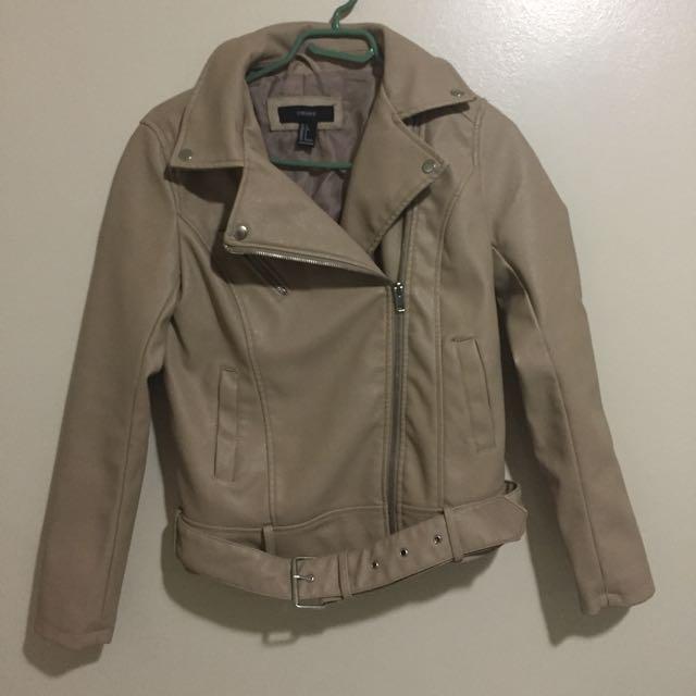 F21 beige faux leather jacket