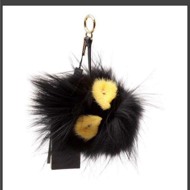 FENDI Bag Bug 背包吊墜吊飾 魔魔 貂毛球 黑+黃色
